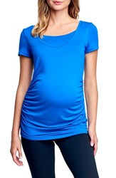 Maternal America Ruched Maternity Nursing Tee Royal Blue