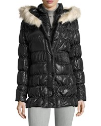Via Spiga Long Sleeve Quilted Puffer Coat W Faux Fur Trim Hood Black With