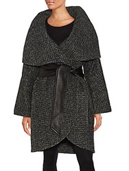 Badgley Mischka Sloan Oversized Wool Blend Coat Black Herringbone