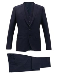 Dolce And Gabbana Martini Fit Virgin Wool Blend Three Piece Suit Navy