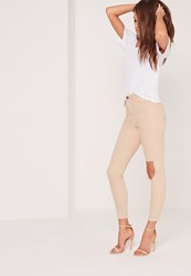Missguided High Waist Rip Knee Jeans Nude Beige