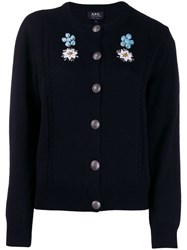 A.P.C. Embroidered Floral Cardigan Blue