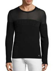 Versace Sheer Top Greek Key Sweater Black