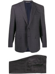 Canali Single Breasted Checked Suit Blue