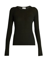 Christophe Lemaire Ribbed Knit Wool Sweater Dark Green