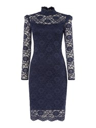 Jessica Wright Kennie Long Sleeve Lace Bodycon Dress Navy