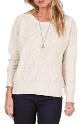 Volcom Women's Chained Down Knit Crewneck Sweater Vintage White