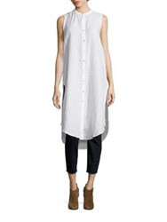 Eileen Fisher Mandarin Collar Long Shirt White