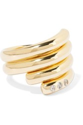 Elizabeth And James Pearce Set Of Two Gold Tone Crystal Rings 6