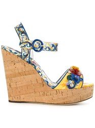 Dolce And Gabbana Majolica Print Wedges Cork Leather Patent Leather Brass Multicolour