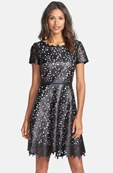 Women's Nue By Shani Laser Cut Faux Leather Fit And Flare Dress Black