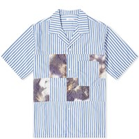 Nanamica Open Collar Patchwork Stripe Shirt Blue
