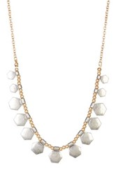Melrose And Market Hexagon Charm Beaded Necklace Metallic
