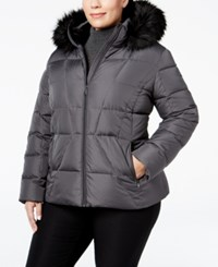 Calvin Klein Plus Size Faux Fur Trim Down Puffer Coat Shadow Grey