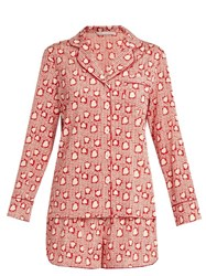 Stella Mccartney Poppy Snoozing Hearts Print Silk Pyjama Set Red Multi