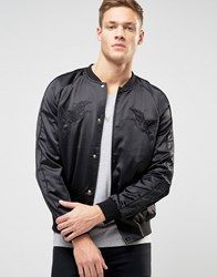 New Look Embroidered Sateen Bomber In Black Black