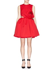 Chictopia Origami Rose Cutout Wool Flare Dress Red