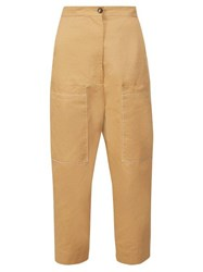 Marni Contrast Stitch Cropped Cotton Trousers Beige