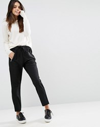 Asos Textured Wet Look Joggers With Raw Waistband Black