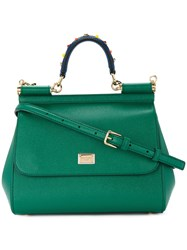 Dolce And Gabbana Sicily Handbag With Handle Embroidery Calf Leather Green