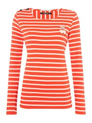Maison Scotch Breton Long Sleeve Tee With Cherries Red