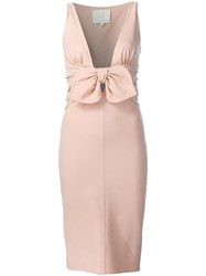 Dsquared2 Plunging Bow Dress Pink Purple