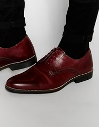 Red Tape Lace Up Shoes In Burgundy Leather Red