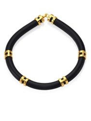 Lizzie Fortunato Double Take Leather Tube Necklace Black