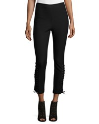 Derek Lam Laced Stretch Ponte Leggings Black