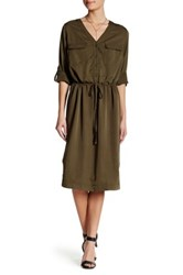 Max Studio Woven Roll Tab Shirt Dress Green
