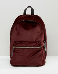 New Look Velvet Backpack Dark Burgundy Red