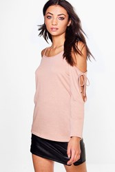 Boohoo Tall Nerea Tie Cold Shoulder Jumper Stone