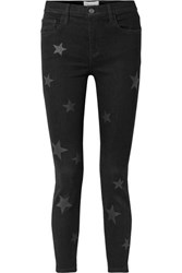 Current Elliott The Stiletto Printed High Rise Skinny Jeans Black