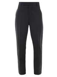 Rick Owens Side Stripe Slim Leg Crepe Trousers Black