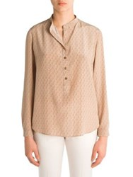 Stella Mccartney Eva Mini Dog Print Silk Shirt Light Camel