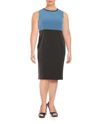 Nipon Boutique Plus Colorblocked Sleeveless Shift Dress Grey Frost