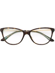 Bulgari Cat Eye Frame Glasses Brown