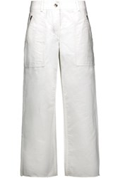 Rag And Bone Grace Cropped Cotton Twill Wide Leg Pants White