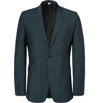 Burberry Petrol Slim Fit Wool And Mohair Blend Suit Jacket