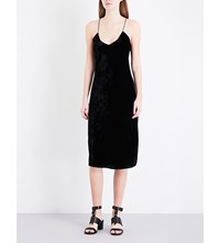 Nili Lotan Short Velvet Slip Dress Black