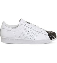 Adidas Superstar 80S Metallic Leather Trainers White Black Metal