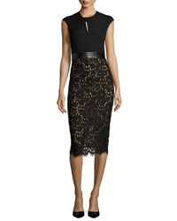 Michael Kors Lace And Jersey Cocktail Sheath Dress Black