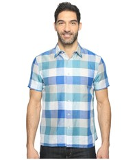 Perry Ellis Short Sleeve Plaid Linen Shirt Classic Blue Men's Clothing