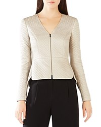 Bcbgmaxazria Pearson Diamond Quilted Faux Leather Jacket Pumice