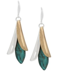 Robert Lee Morris Soho Two Tone Patina Sculptural Blue Stone Drop Earrings Silver