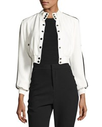 Cinq A Sept Daphine Cropped Bomber Jacket Ivory