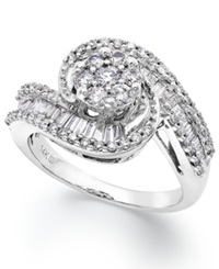 Macy's Diamond Cluster Swirl Ring In 14K White Gold 1 Ct. T.W.