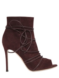 Gianvito Rossi 100Mm Suede Lace Up Ankle Boots Burgundy