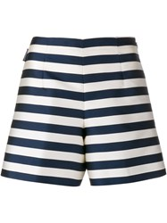Moncler Silk Striped A Line Shorts Blue White Navy Blue