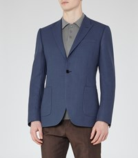 Reiss Burling B Mens Peak Lapel Wool Blazer In Blue